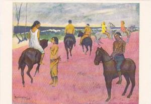 Paul GAUGUIN painting Horsemen on beach, 50-70s