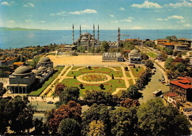 Turkey Istanbul, Sultan Ahmet Camii, The Blue Mosque General view Cars Promenade