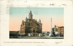 Winnipeg Manitoba~City Hall & Volunteer Monument~1910