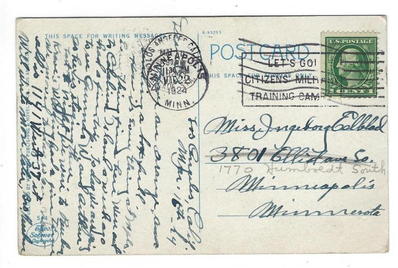 1924 USA Southern California Orange Basket Postcard - Theo Sohmer (MM157)