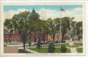 Post Office from the Common, Taunton, Massachusetts, PU-1931