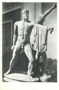 Roman art sculpture statue Aristogitone and Armodio real photo postcard