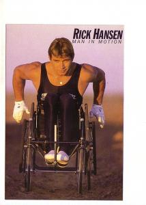 Rick Hansen Man in Motion in His Wheelchair,  Advertising Stedman's Bookstore