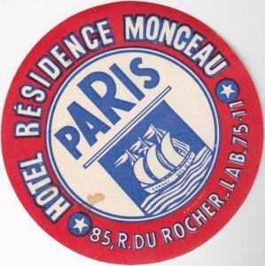 France Paris Hotel Residence Monceau Vintage Luggage Label sk1015