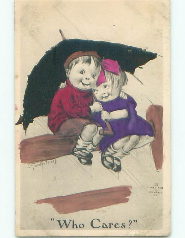 Pre-Linen signed WHO CARES - CUTE GIRL UNDER UMBRELLA WITH BOY DURING RAIN J0554