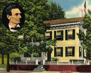 Abraham Lincoln's Home Springfield Illinois Vintage Standard View Postcard