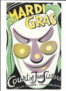 Vintage Restaurant Menu COURT OF TWO SISTERS New Orleans MARDI GRAS