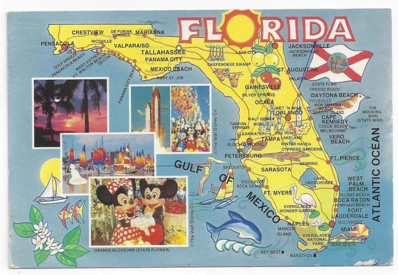 Florida Map Postcard Disney Mickey Mouse Space Shuttle 1993
