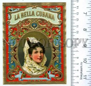 500133 LA BELLA CUBANA Vintage embossed cigar box label
