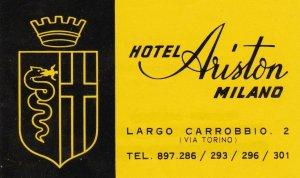 Italy Milano Hotel Ariston Vintage Luggage Label sk3344