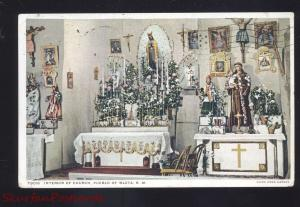 PUEBLO OF ISLETA INDIAN RESERVATION NEW MEXICO CHURCH INTERIOR OLD POSTCARD