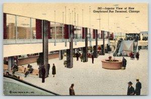 Chicago Illinois~New Greyhound Bus Terminal Interior~Escalators~1953 Linen PC