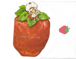 Strawberry Shortcake Cute Strawberry I Think of You A Lot Unused Card & Envelope