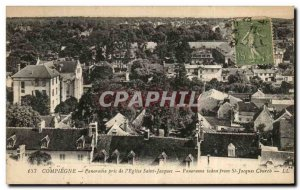 Old Postcard Compiegne Panorama taken of the church Saint Jacques