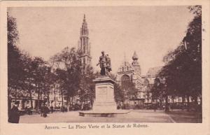 Belgium Anvers La Place Verte et la Statue de Rubens