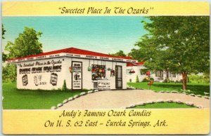 Eureka Springs, Arkansas Postcard Andy's Famous OZARK CANDIES Roadside Linen