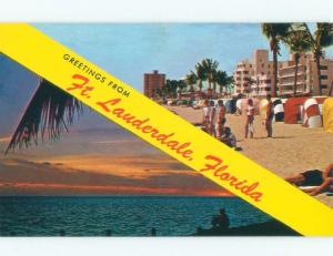 Pre-1980 GREETINGS FROM -2 SCENES ON ONE POSTCARD Fort Lauderdale FL d6633