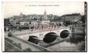 Old Postcard Le Mans Partial view and Pont Gambetta