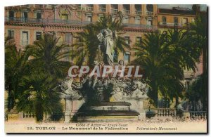 Old Postcard French Riviera Toulon Monument of the Federation