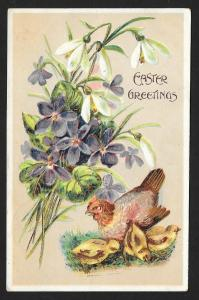 Easter Greetings Flowers Chicken Chicks Used c1910s
