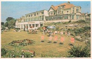 Pentargan Hotel Residents Garden Umbrellas Falmouth 1970s Postcard
