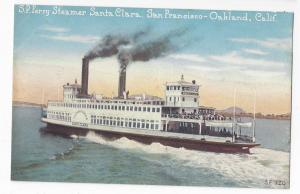 San Francisco to Oakland CA SP Ferry Steamer Santa Clara Vintage PNC Postcard
