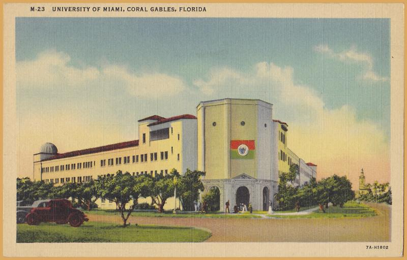 Coral Gables, FLA., University of Miami, main building with vintage cars -