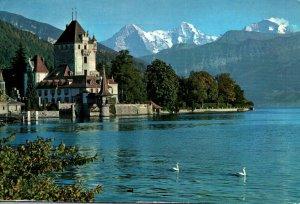 Bern Switzerland Oberhofen Castle Lake Thun Eiger Monch Jungfrau Mtns Postcard