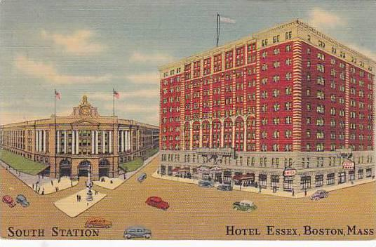 Exterior, South Station, Hotel Essex, Boston, Massachusetts,  PU-30-40s