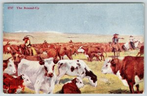 FW Schultz~Cowboy Western Artist~The Found Up~Ranch Hands in Midst of Cattle~'07