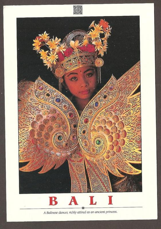 INDONESIA LARGE POSTCARD-A BALINESE DANCER-BALI