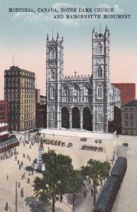 Notre Dame Church, and Maisonneuve Monument, MONTREAL, Quebec, Canada, 00-10s