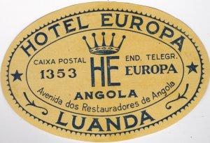 Angola Luanda Hotel Europa Vintage Luggage Label lbl0410