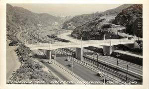 c1940 RPPC Postcard Cahuenga Pass Freeway entering Hollywood CA C349 Playford
