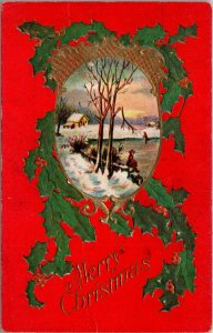 Merry Christmas - Holly Embossed - Red - Winter Scene - POSTCARD PC POSTED