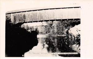 Indiana IN Postcard Real Photo RPPC c1940s TURKEY RUN STATE PARK Covered Bridge