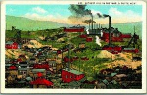 Butte, Montana Linen Postcard Mine Scene Richest Hill in the World Linen