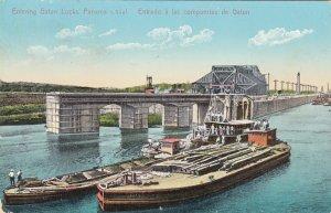 P1913 old postcard work boats entering gatun locks panama canal view