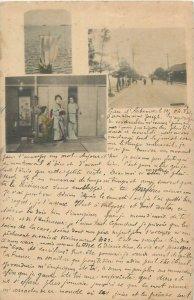 Japan Osaka 1900 postcard geisha costumes