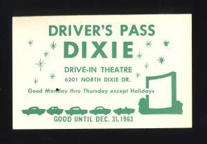 1963 Dixie Drive-In Theatre Driver's Pass, Northridge, Ohio/OH