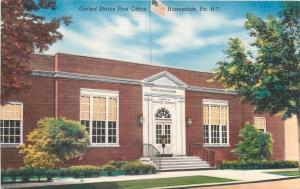 Honesdale Pennsylvania~United States Post Office~1940s Linen Postcard