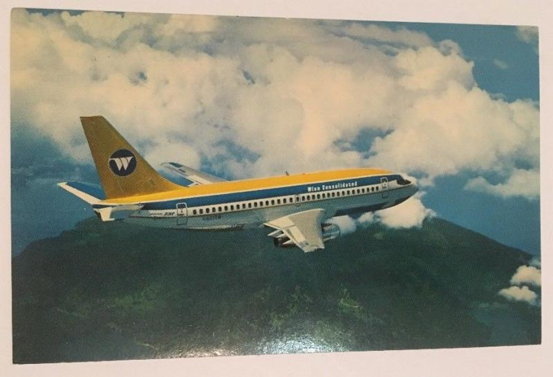 Wien Consolidated Airplane Postcard Boeing 737 Twin Jet RPPC Alaska Airlines