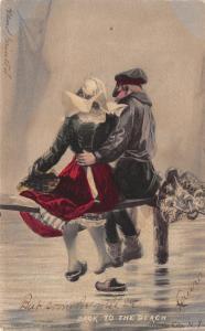 Atlantic City NJ~Back to the Beach~Dutch Couple on Plank~Handcolored~Artist 1908