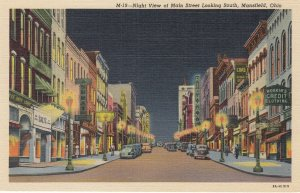 MANSFIELD , Ohio, 1930-40s ; Main Street at night