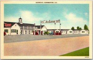 Summerton, South Carolina Postcard GODWIN'S MOTOR COURT Roadside Esso Gas Linen