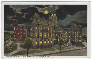 Wheeling, West Virginia, Early View of The City Building and Jail By Moonlight