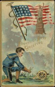 4th Fourth of July Boy Lighting Cannon American Flag Statue Liberty Postcard