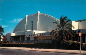 Miami Florida~Bayfront Municipal Auditorium As the Sun Goes Down 1950s Postcard