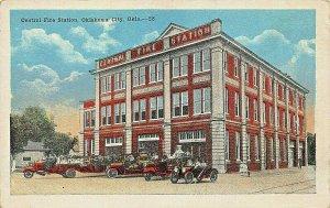 OKLAHOMA CITY OK~CENTRAL FIRE STATION~1920s POSTCARD