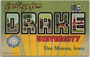 DRAKE UNIVERSITY Large Letter Postcard Des Moines IA Curteich Linen 1940 Cancel